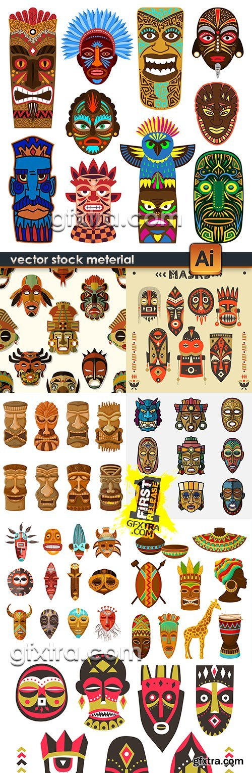 African mask totem tribal ethnic illustration collection