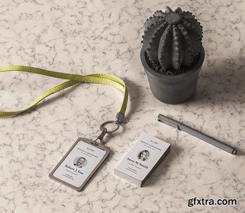 Stationery Psd ID Card Holder Mockup