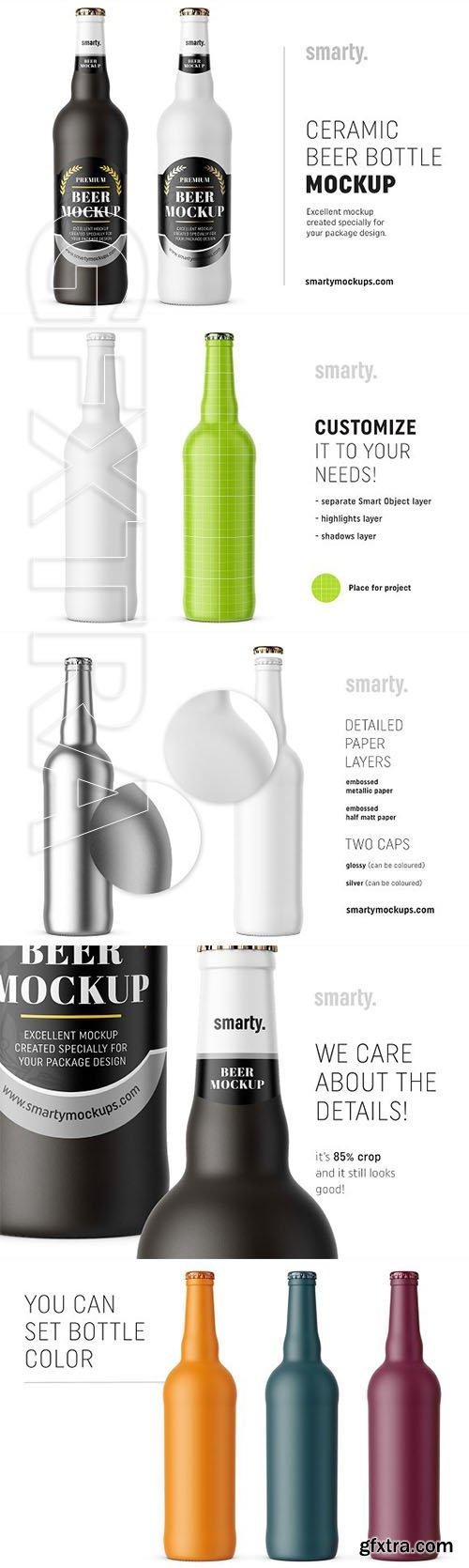CreativeMarket - Ceramic beer bottle mockup 2975541