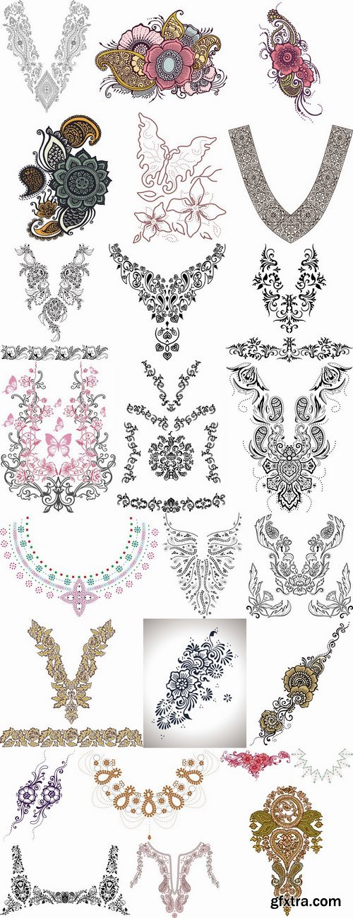 Pattern for embroidery lace tattoo 25 EPS
