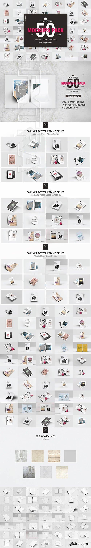 CreativeMarket - 50 Flyer Poster Mockups Pack 3051112