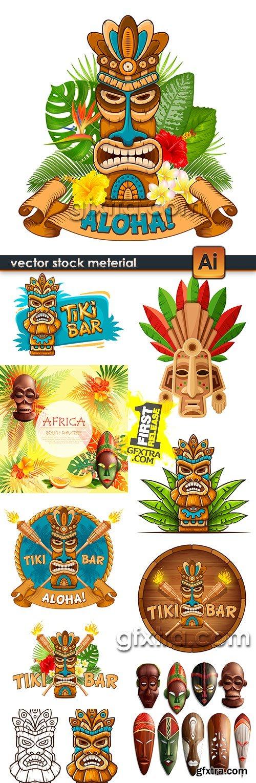 Hawaii tiki mask tropical illustration collection