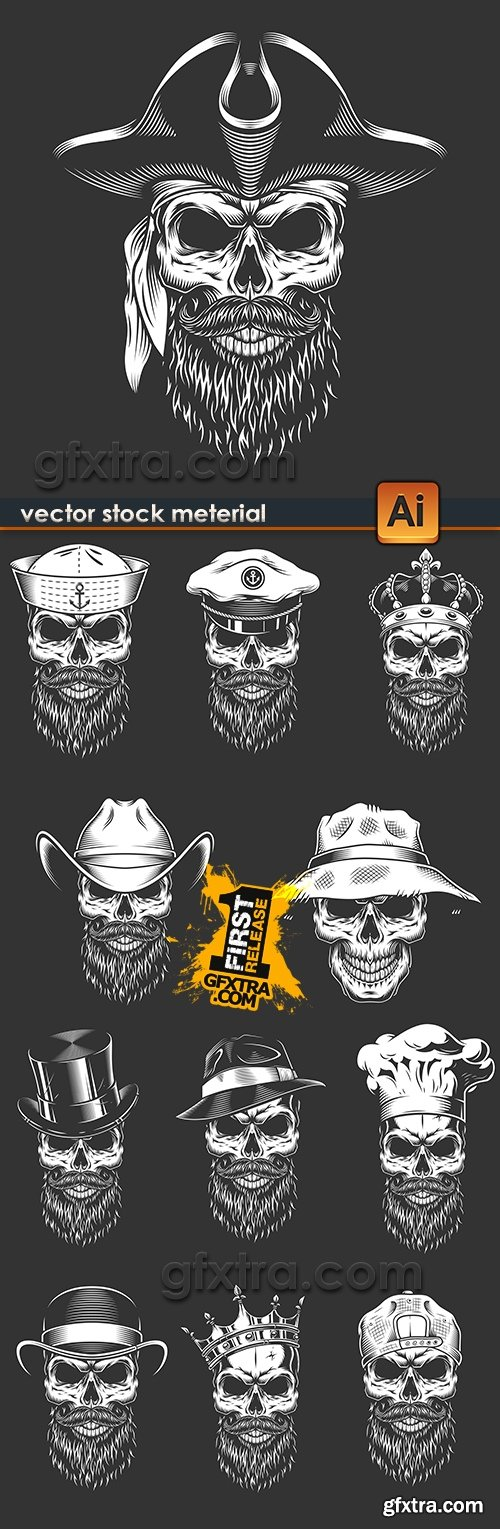 Skull in hat illustration Wild West of retro emblem