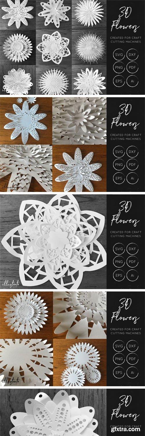 Designbundles - 3D Flower SVG Cut Files 44342