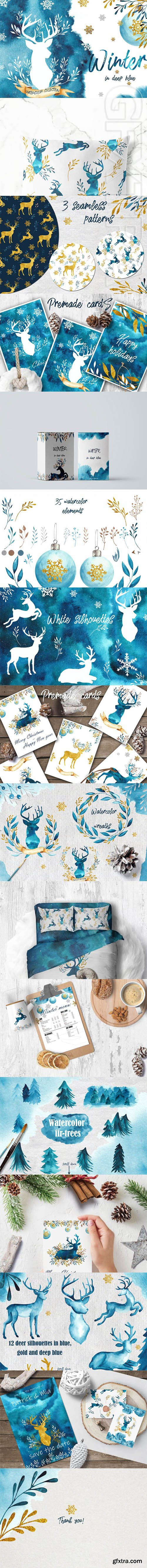Winter in deep blue Watercolor collection