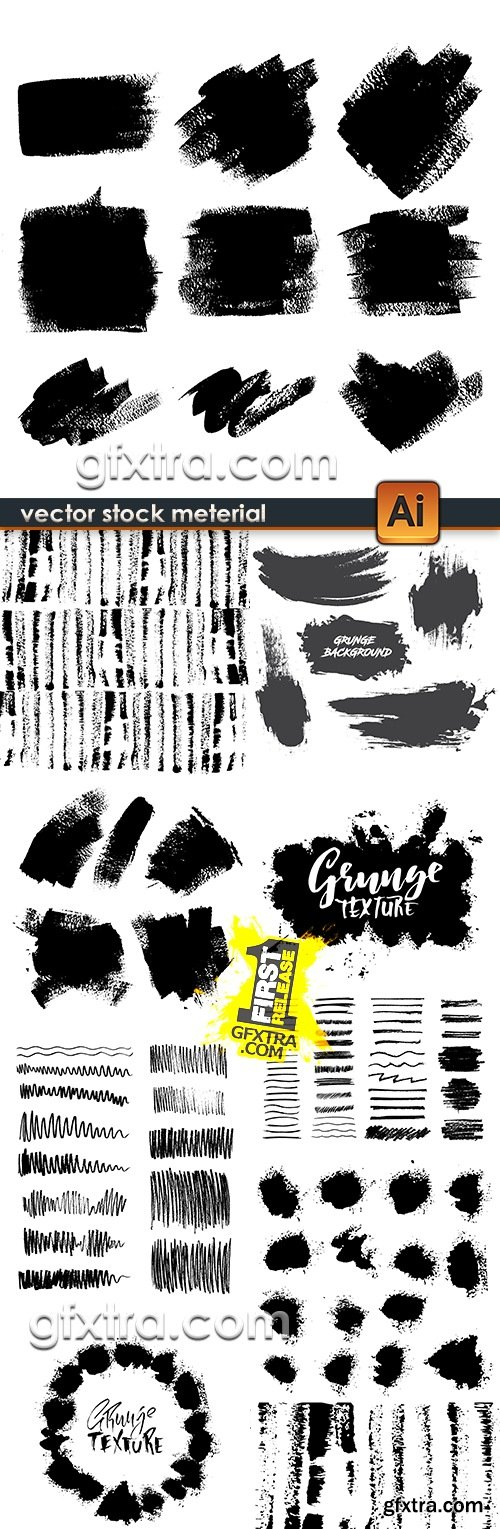 Grunge collection splashes of ink and black paint 7