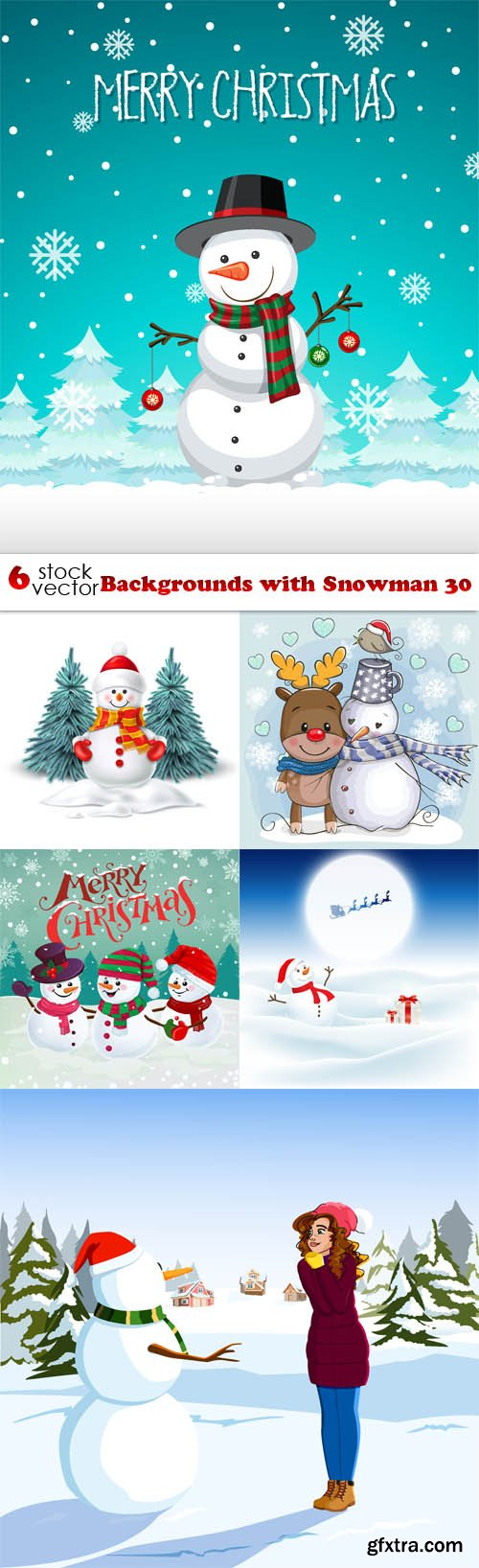 Vectors - Backgrounds with Snowman 30