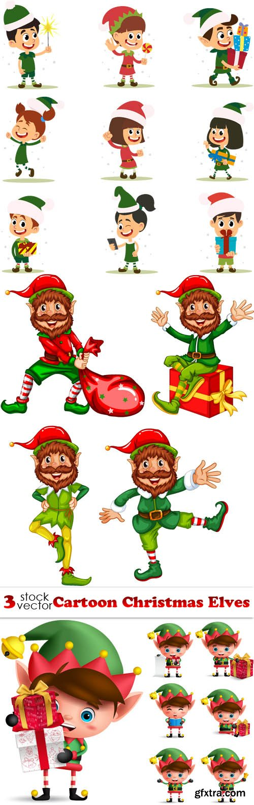 Vectors - Cartoon Christmas Elves