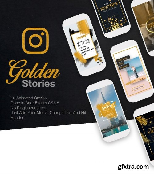 Videohive Golden Stories // Animated Stories for Instagram 22630824