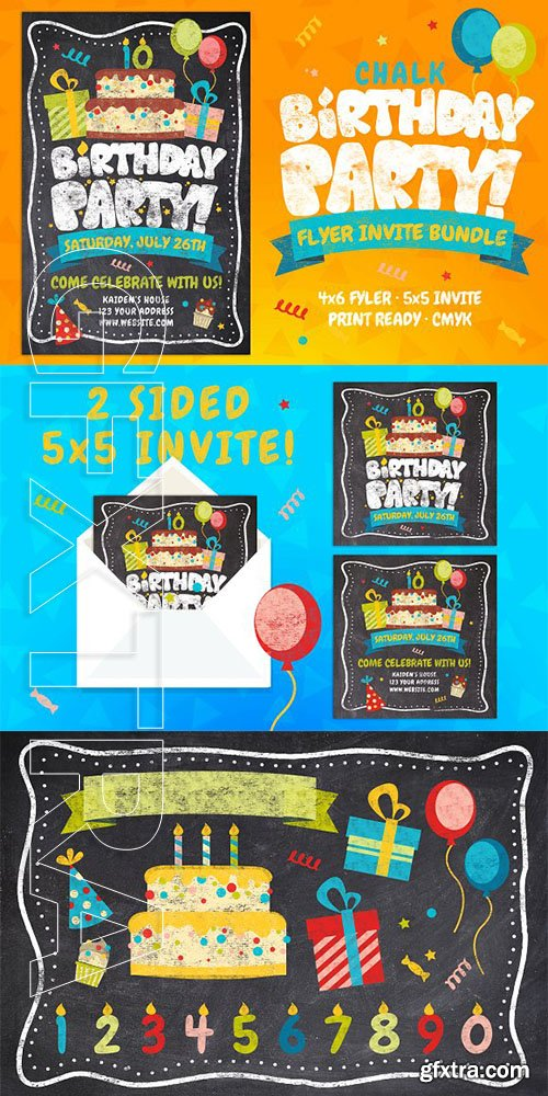 CreativeMarket - Chalk Birthday Party Flyer Bundle 3135571