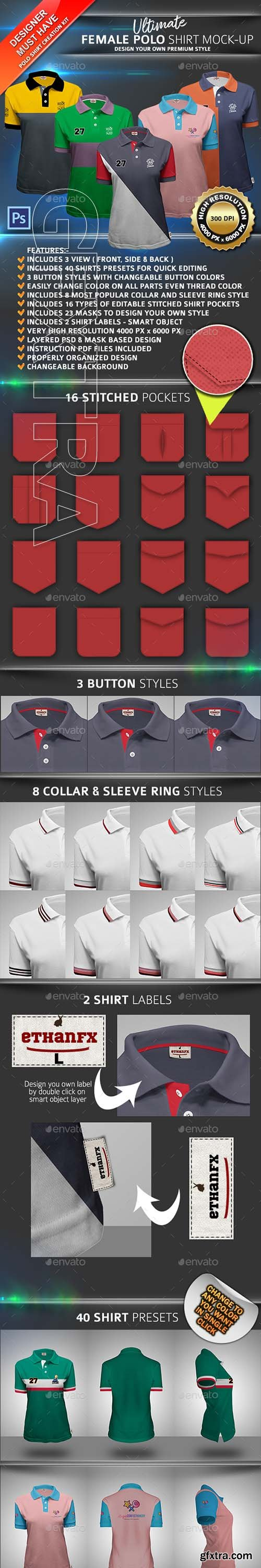 GraphicRiver - Ultimate Female Polo Shirt Mock-up 22753547