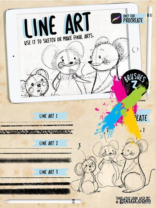 CreativeMarket - Line Art - Brushes for procreate 3135561