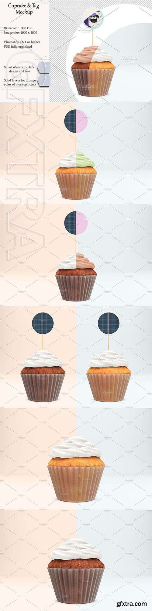 CreativeMarket - Cupcake tag mockup PSD mockup 3112357