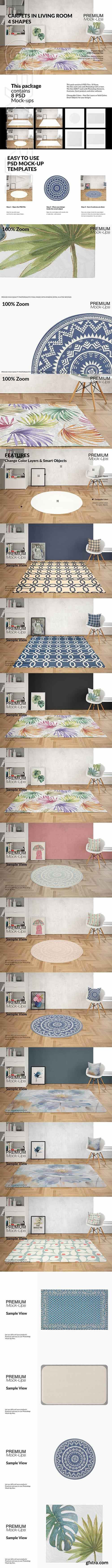 CreativeMarket - Carpets & Pillow in Living Room Set 2990331