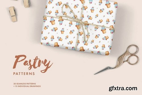 Watercolor Pastry Patterns