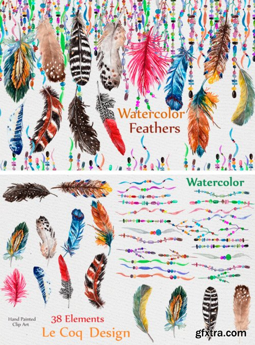 Creativefabrica - Feathers Watercolor Clipart 489716