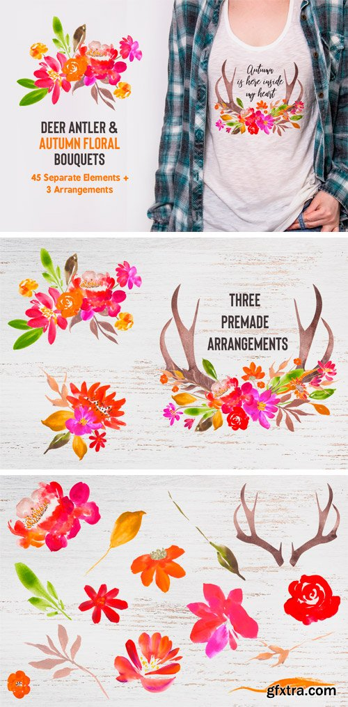 Thehungryjpeg - Autumn Watercolor Flower Bouquet Builder 3496871
