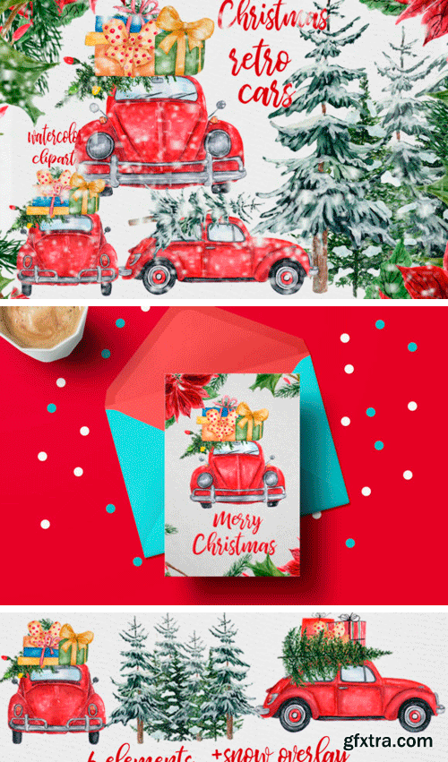 Creativefabrica - Watercolor Christmas Cars Clipart 655429