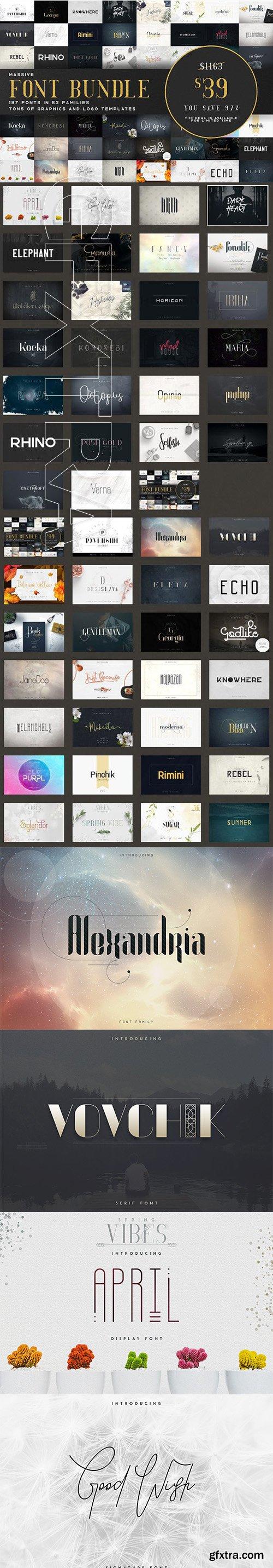 CreativeMarket - Massive Font Bundle - 197 fonts 3037602