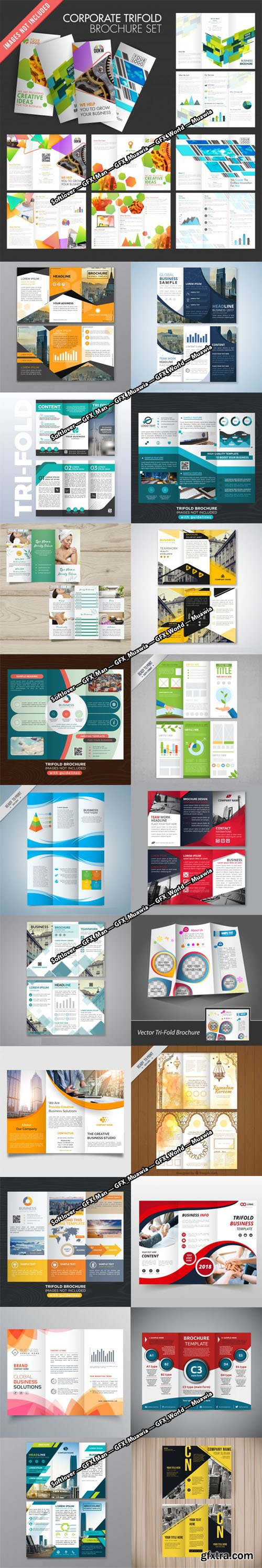 21 Professional Trifold Brochure Vector Templates Collection [Ai/EPS]