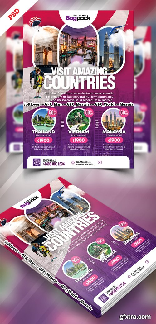 Holiday Travel Packages Flyer PSD Template