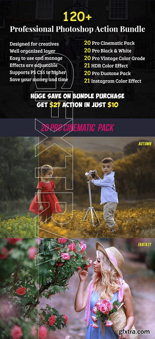 GraphicRiver - 120+ Pro Photoshop Action Bundle 22740664