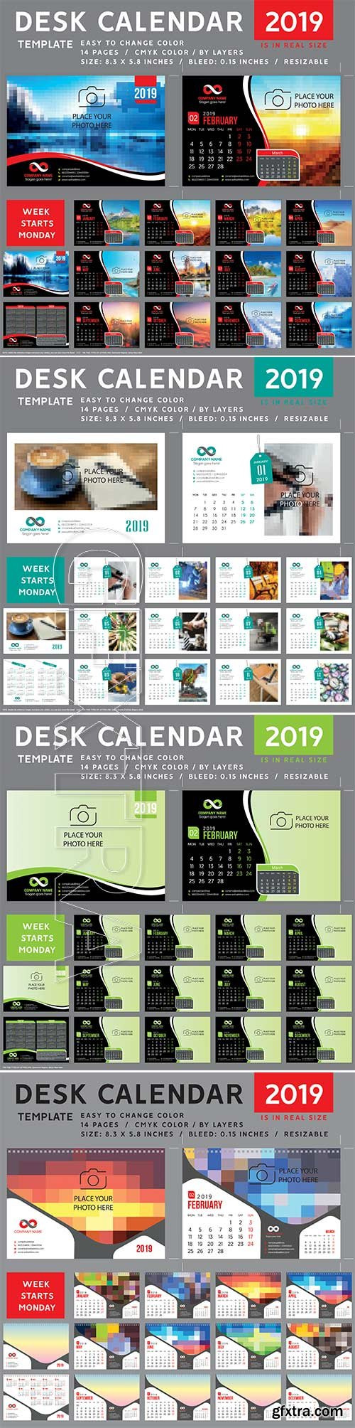 2019 desk vector calendar design template
