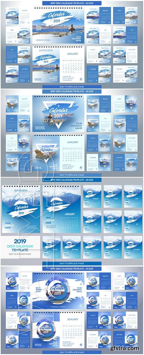 Desk Calendar 2019 vector template, 12 months included