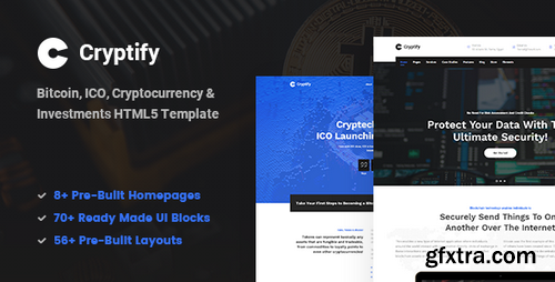ThemeForest - Cryptify v1.0 - Responsive Bitcoin, Cryptocurrency and Investments HTML Template - 22662788