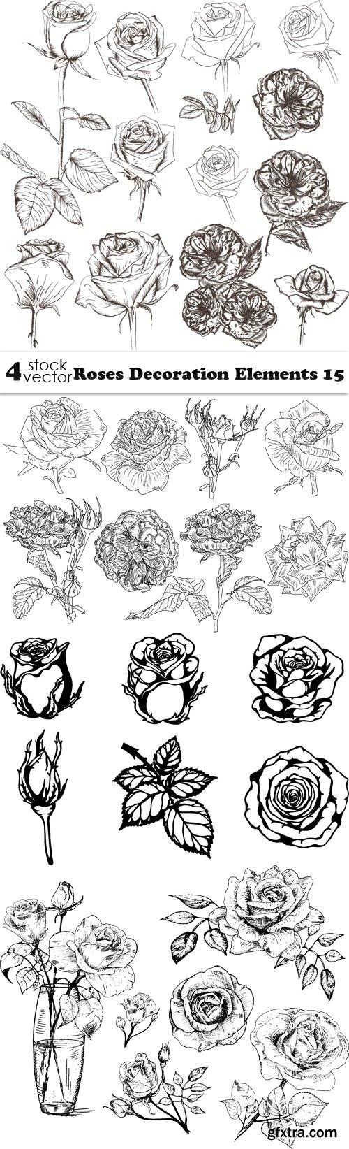 Vectors - Roses Decoration Elements 15