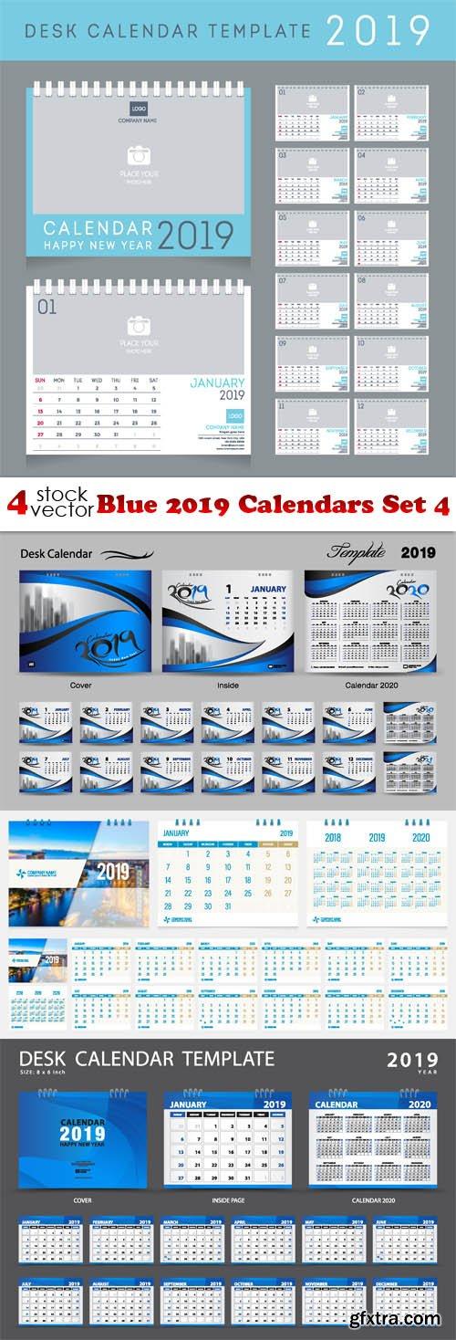 Vectors - Blue 2019 Calendars Set 4