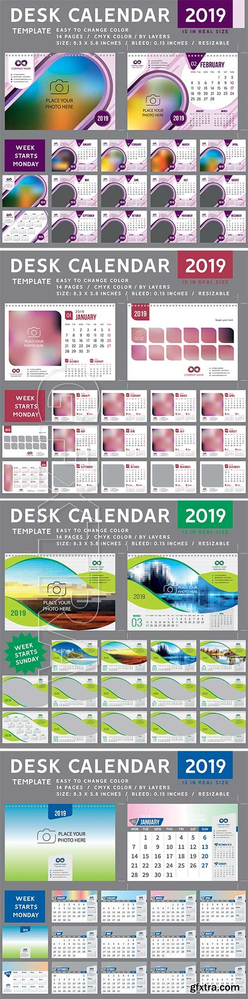 Desk Calendar 2019 vector template, 12 months included # 2