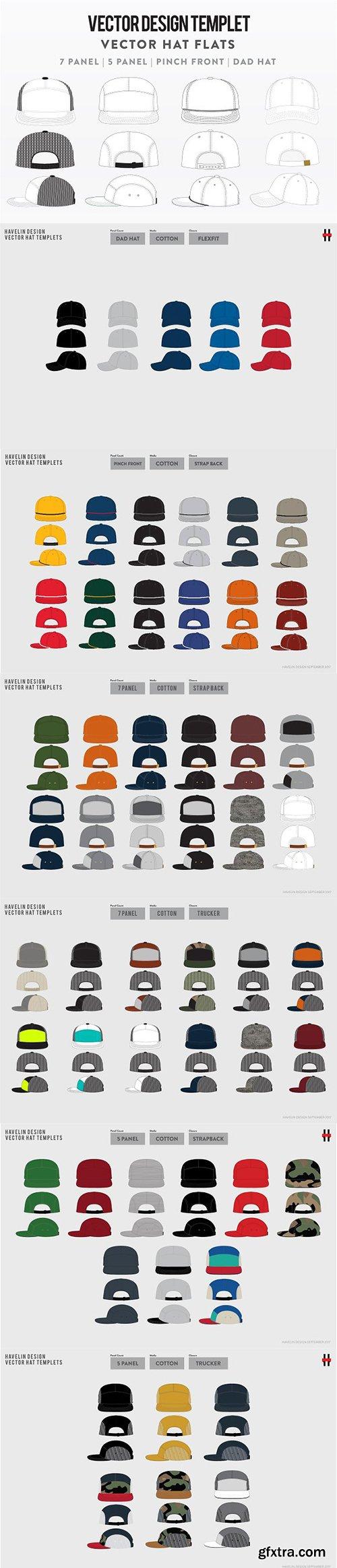 CreativeMarket - 63 Vector Hat Flats - Bundle Pack 2714824