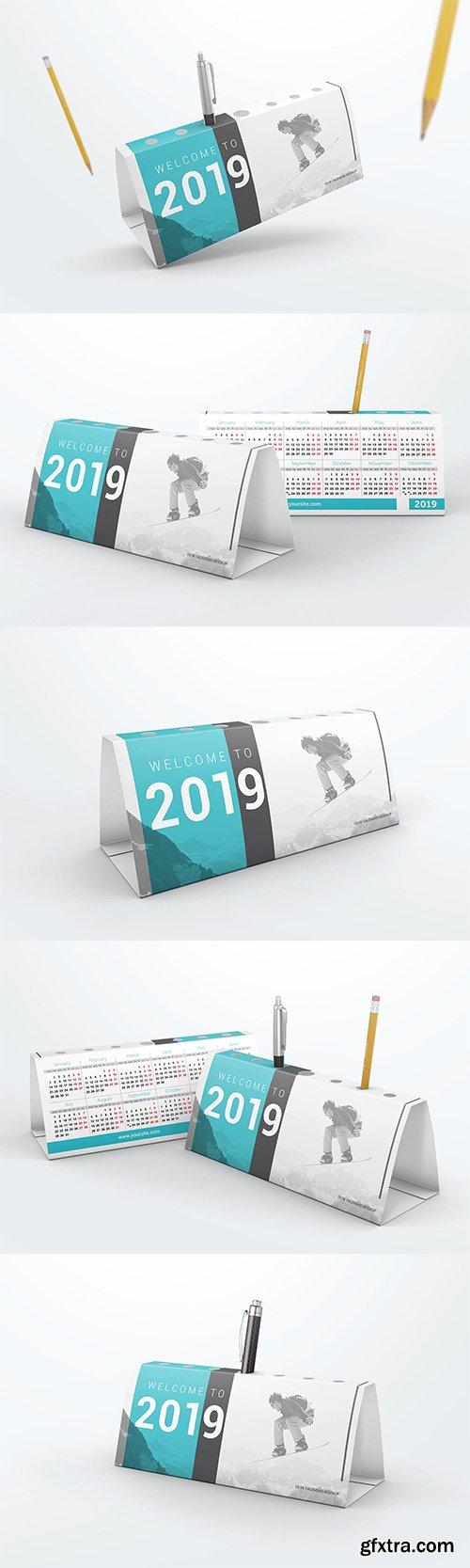 Desk Calendar Pen Holder Mockup