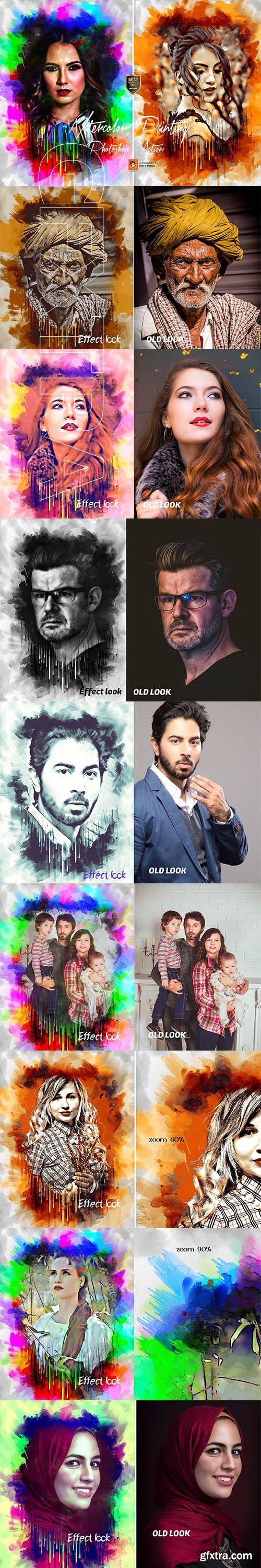 CreativeMarket - Watercolor Painting Photoshop Action 3143144