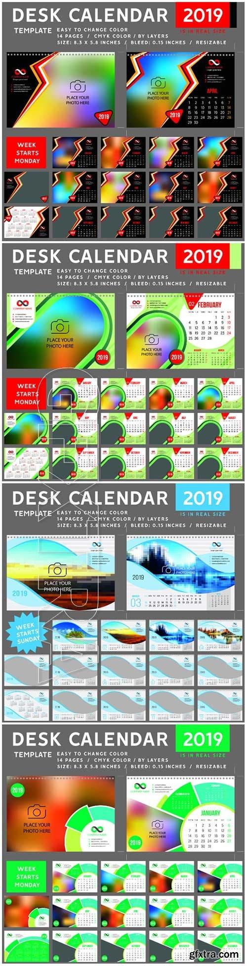Desk Calendar 2019 vector template, 12 months included # 3