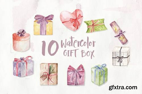 10 Watercolor Gift Box Illustration Graphics