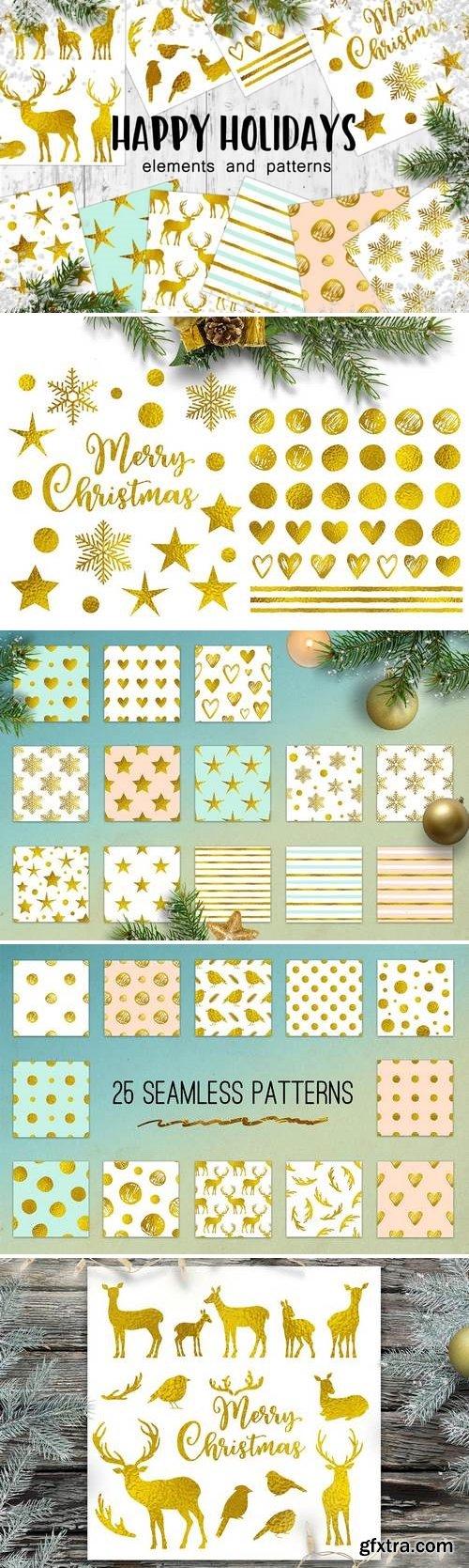Happy Holidays Golden Christmas Design Kit
