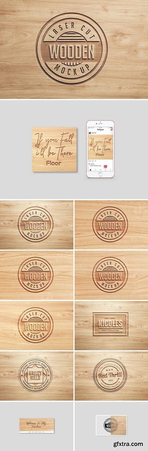 CM - Logo Mock Ups Wood Set 1438552