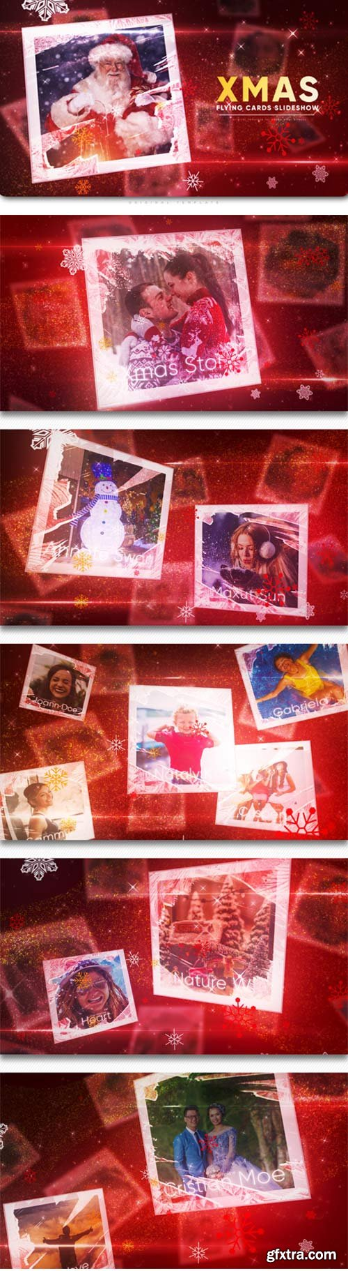 Videohive- Christmas Flying Cards Slideshow - 22783786