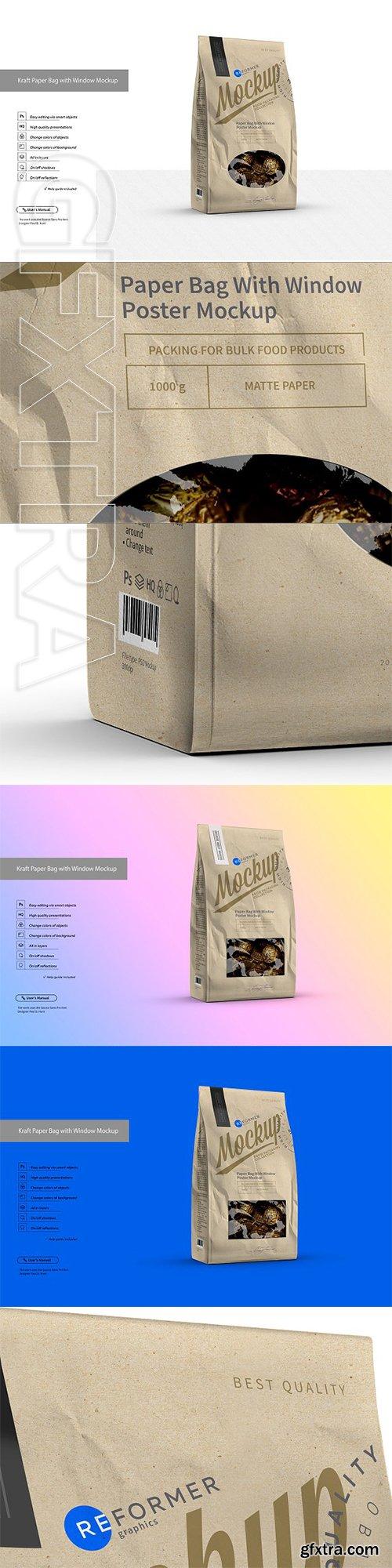 CreativeMarket - Kraft Paper Bag with Window Mockup 3158882