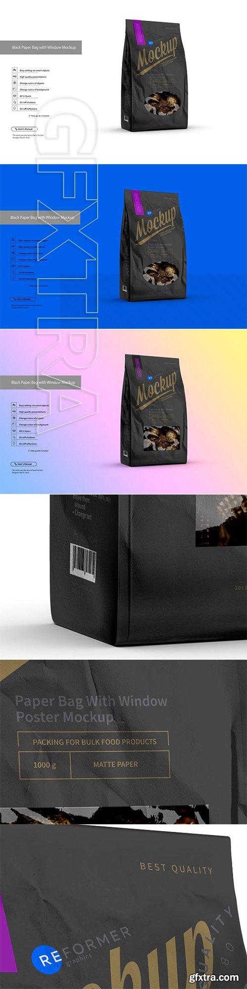 CreativeMarket - Black Paper Bag with Window Mockup 3159104