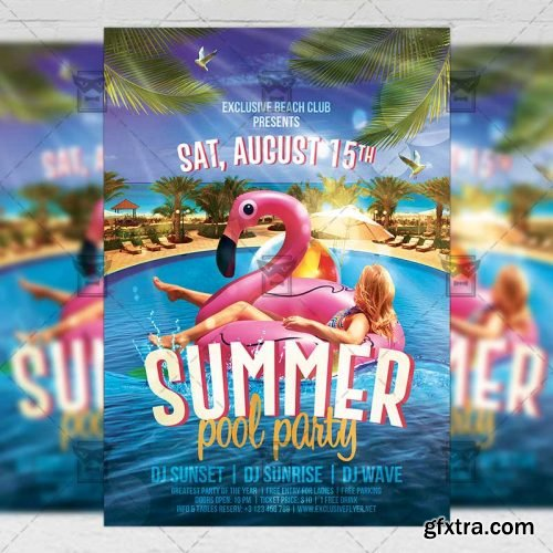 Summer Pool Party Flyer - Seasonal A5 Template