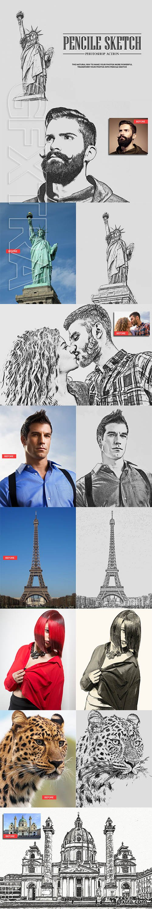 CreativeMarket - Pencil Sketch Photoshop Action 3151742