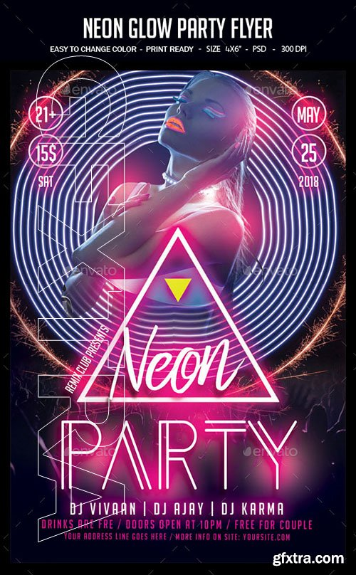 GraphicRiver - Neon Glow Party Flyer 22751389