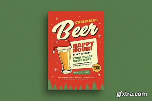 Retro Christmas Beer Party Flyer