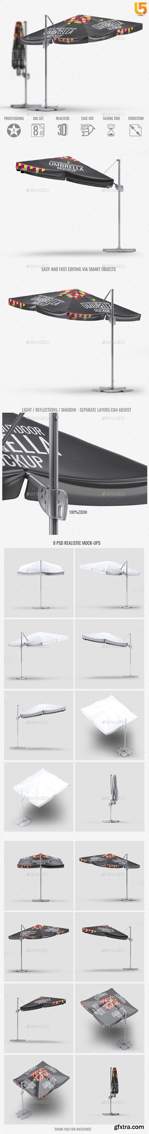 Rectangular Outdoor Umbrella Mock-Up 22834268