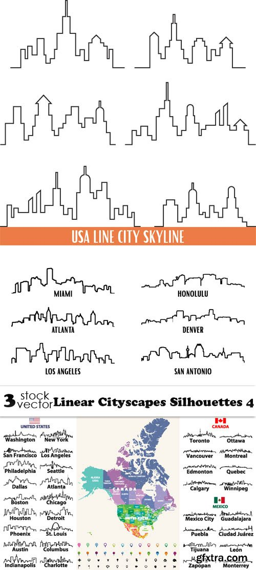Vectors - Linear Cityscapes Silhouettes 4