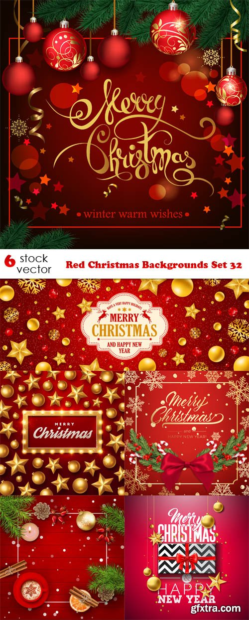 Vectors - Red Christmas Backgrounds Set 32