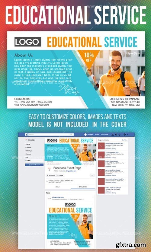 Educational Service V1 2018 Facebook Event + Instagram Template + YouTube Channel Banner